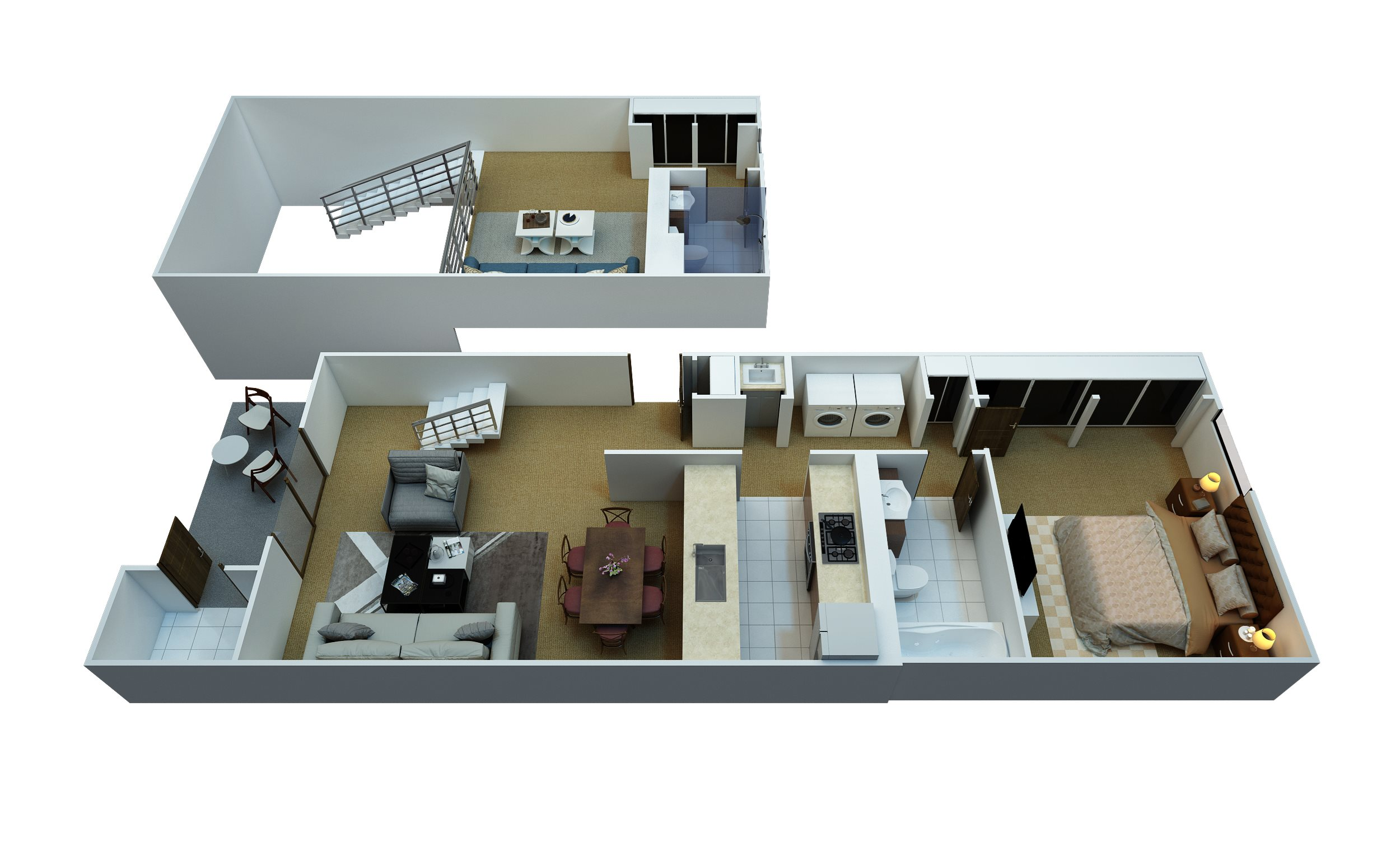 1 Bedroom, 2 Bathroom Floor Plan 2