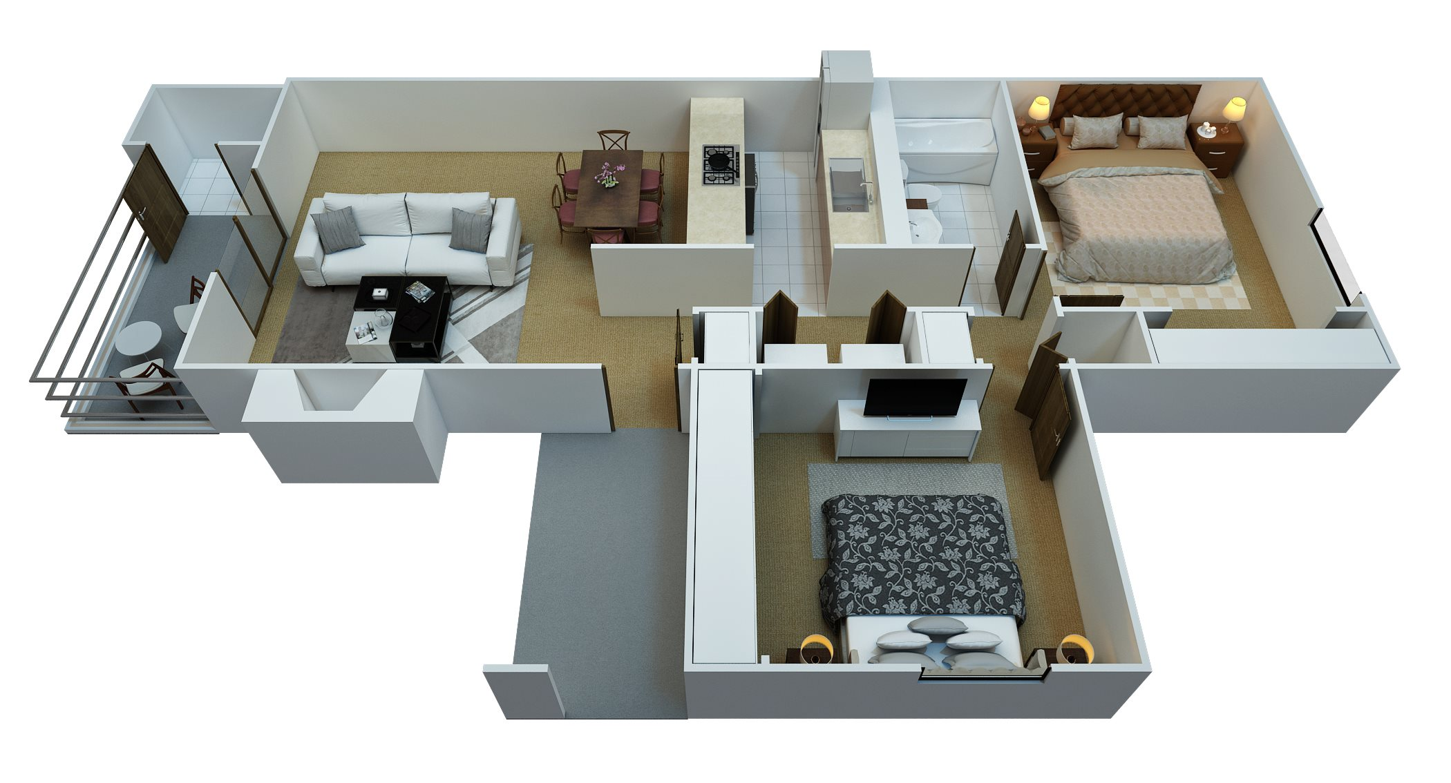2 Bedroom, 1 Bathroom Floor Plan 3