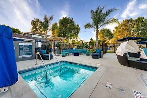 Spa with seating |Nola624 Apts in West Covina