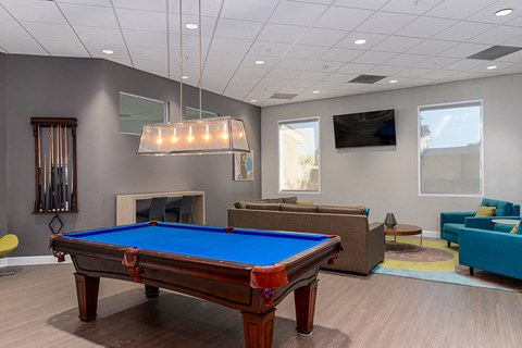 Apartments in West Covina-Nola624 Apartments Game Room with Billiards Tables