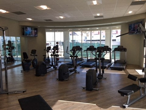Luxury Apartments in West Covina, CA - Nola624 Apartments Spacious Fitness Center with TVs and Cardio Machines