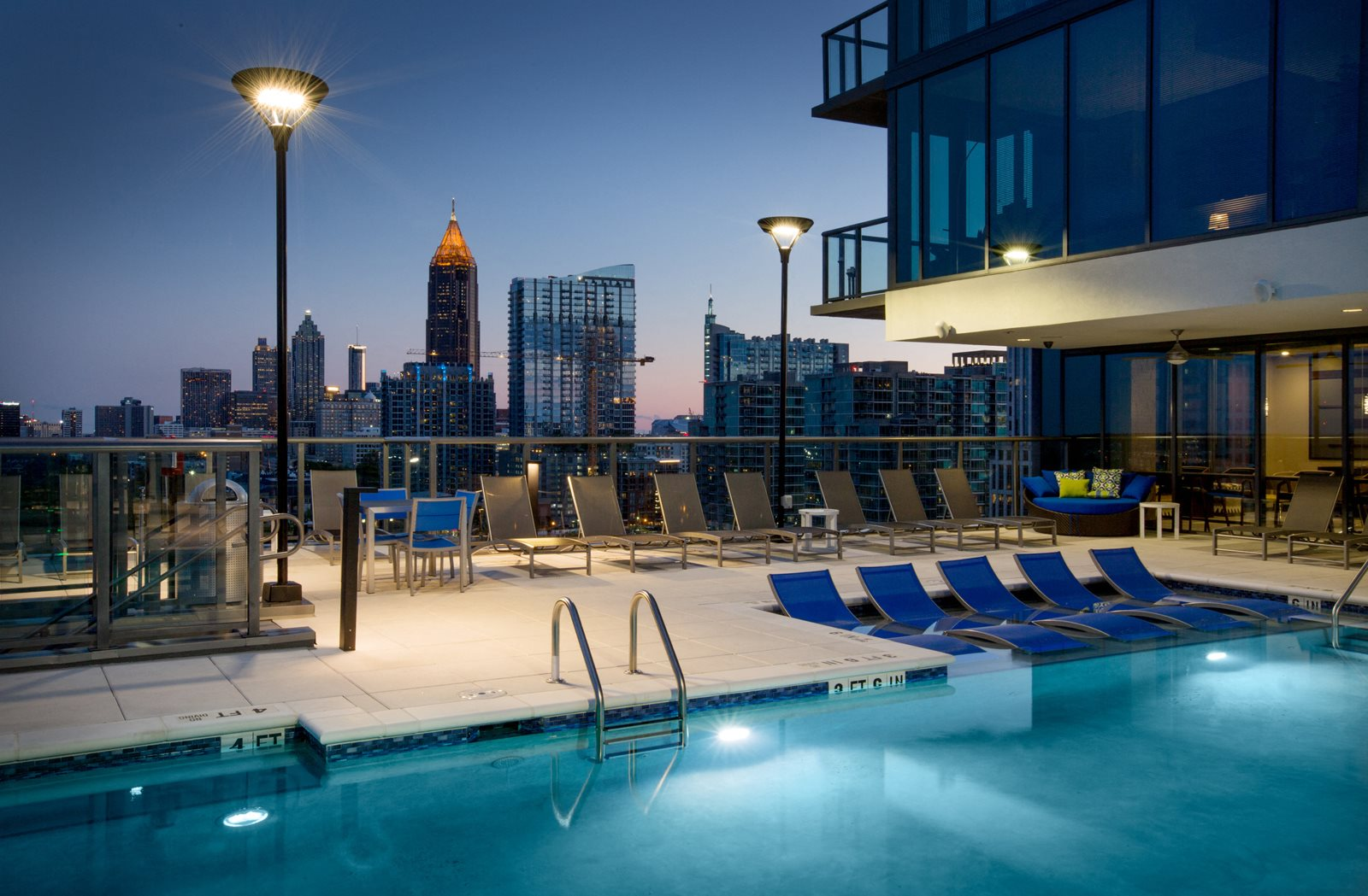 Swimming Pool with Lounge Chairs at Azure on The Park, Atlanta, 30309