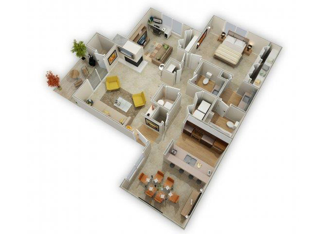 One Bedroom, Plus Den floor plan.