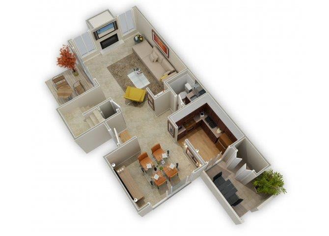 Three Bedroom Townhome floor plan.