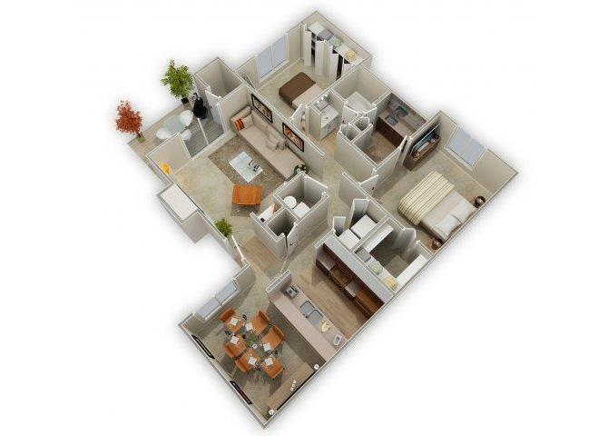 Two Bedroom floor plan.