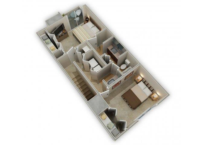 Two Bedroom Townhome floor plan.