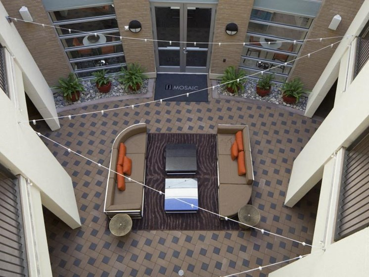 Aerial view courtyard sitting area