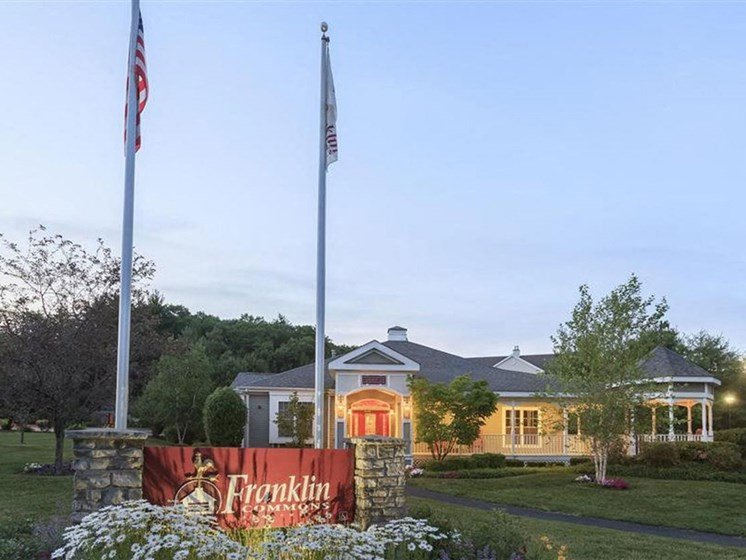 Front Entrance Signage at Franklin Commons Apartments in Franklin, MA