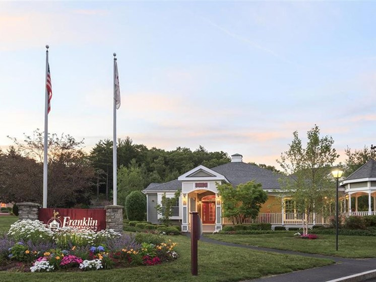 Driveway Entrance with Signage for Franklin Commons Apartments in Franklin, MA