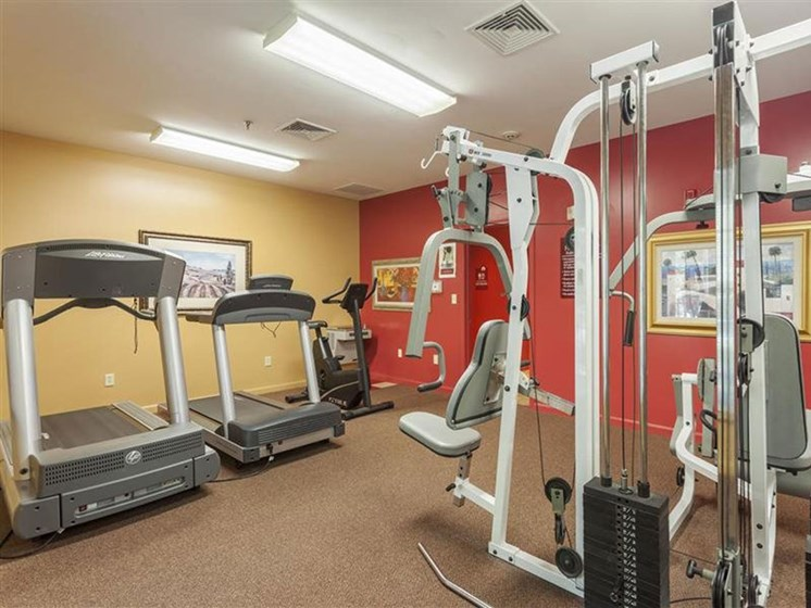 Fully-Equipped Fitness Center at Franklin Commons Apartments in Franklin, MA