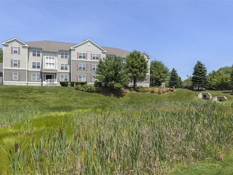Landscaped Lawn at Franklin Commons Apartments in Franklin, MA