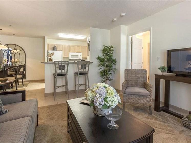 Modern Living Room Decor at Quail Run Apartments in Stoughton, MA