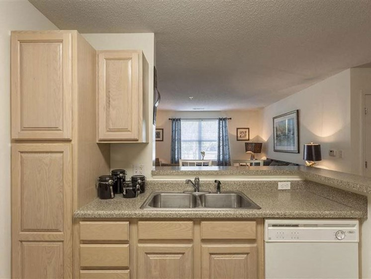 Light Wood Kitchen Cabinetry at Quail Run Apartments in Stoughton, MA