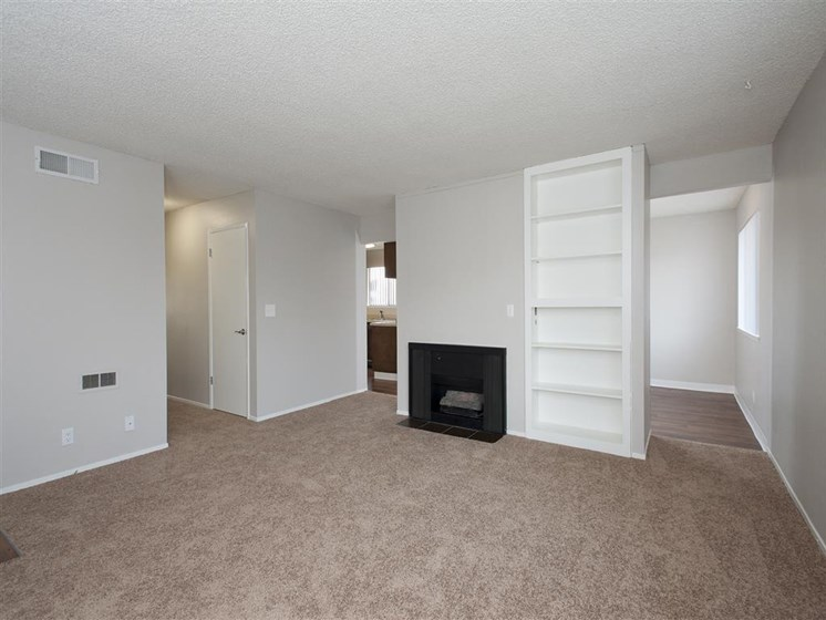 Apartments for Rent in Salinas CA - Woodside Park Apartments Living Room with Fireplace