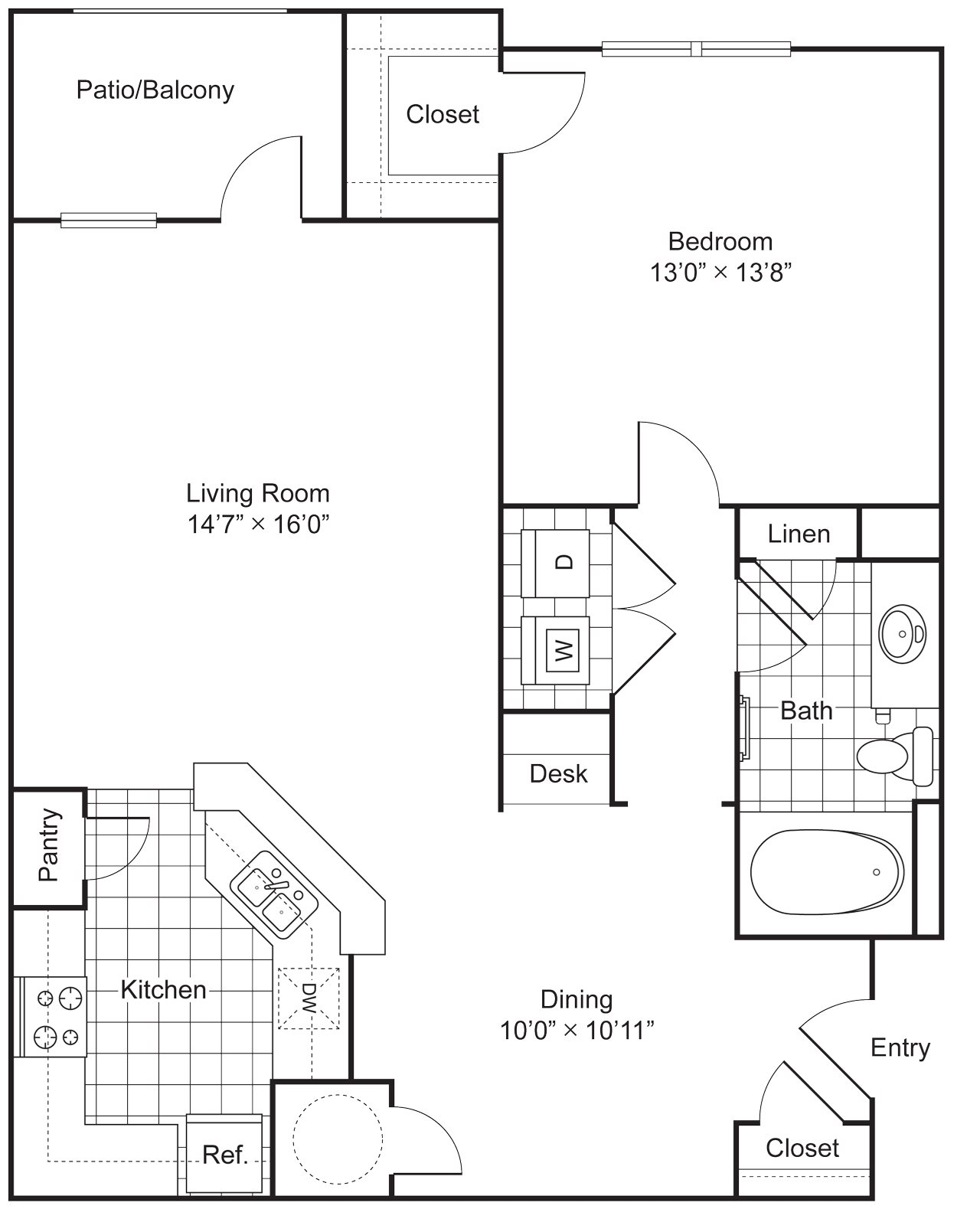 1 Bedroom 1 Bath 905 sqft (A1) Floor Plan 1