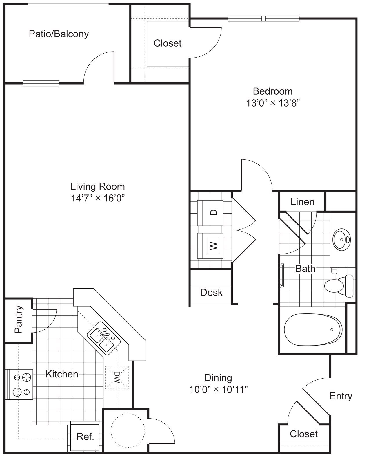 1 Bedroom 1 Bath 920 sqft (A2) Floor Plan 2