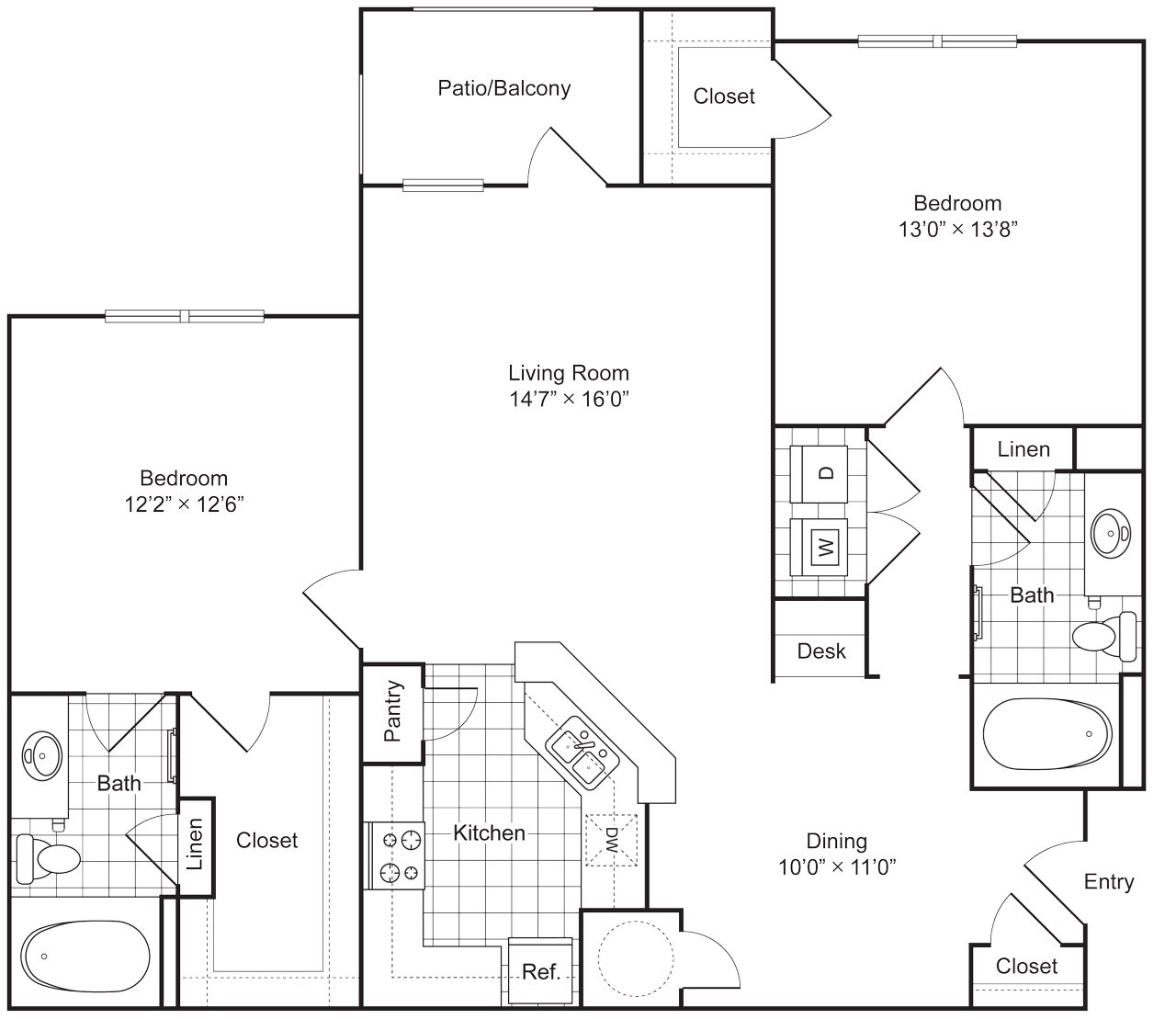 2 Bedroom 2 Bath 1186 sqft (B1) Floor Plan 3