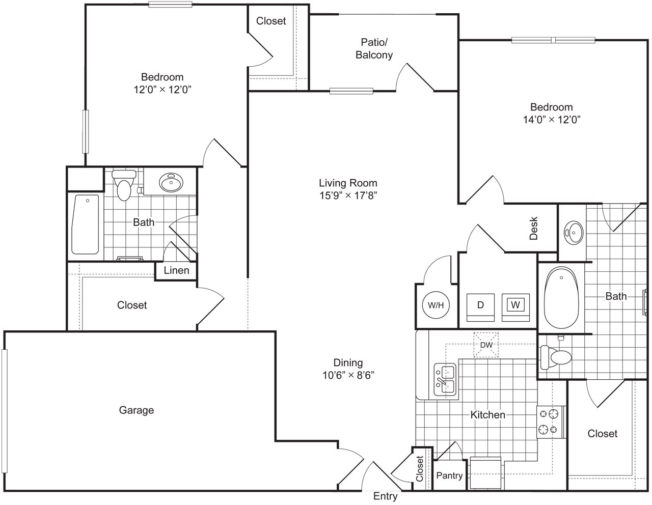 2 Bedroom 2 Bath 1303 sqft (B2G) Floor Plan 5