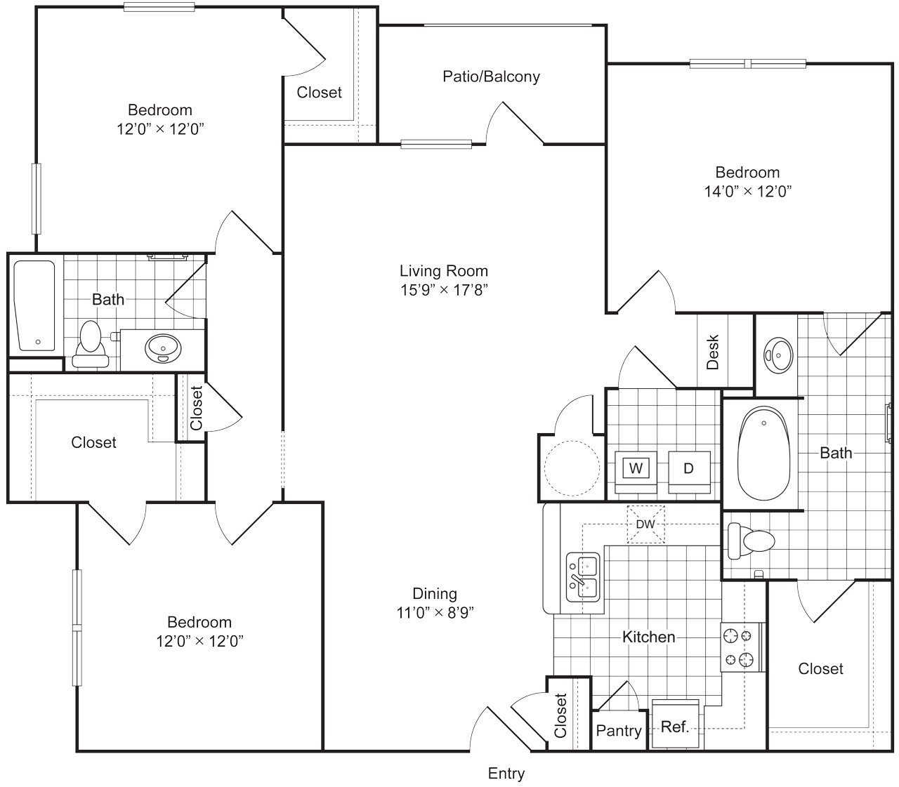 3 Bedroom 2 Bath 1479 sqft (C1) Floor Plan 6
