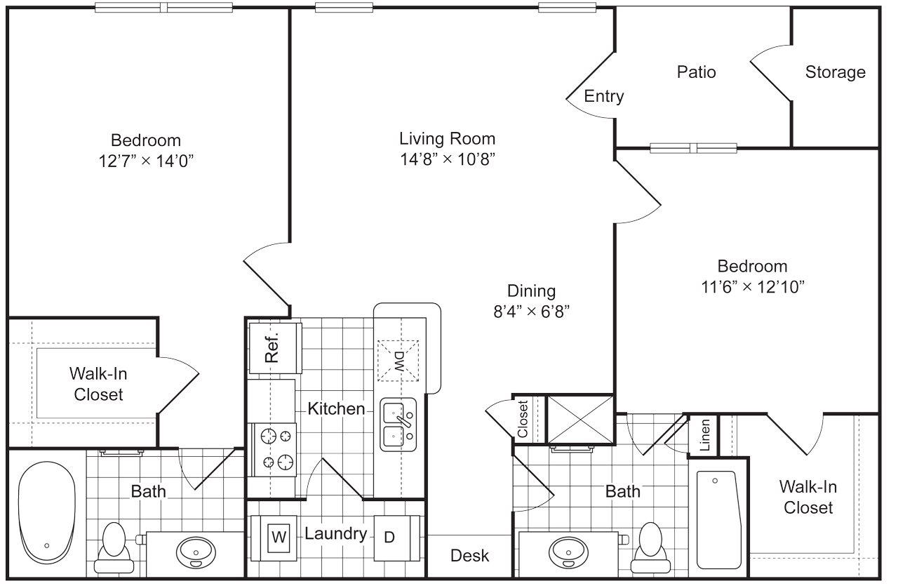 2 Bedroom 2 Bath 1140 sqft (B3U) Floor Plan 11
