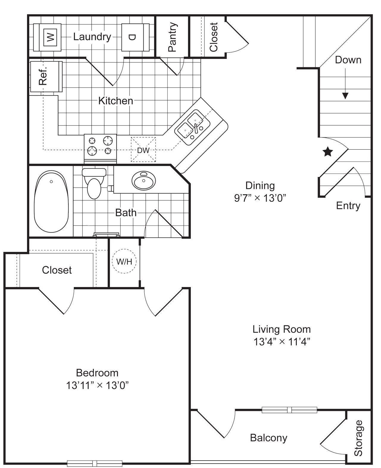 1 Bedroom 1 Bath 976 sqft (A2) Floor Plan 3