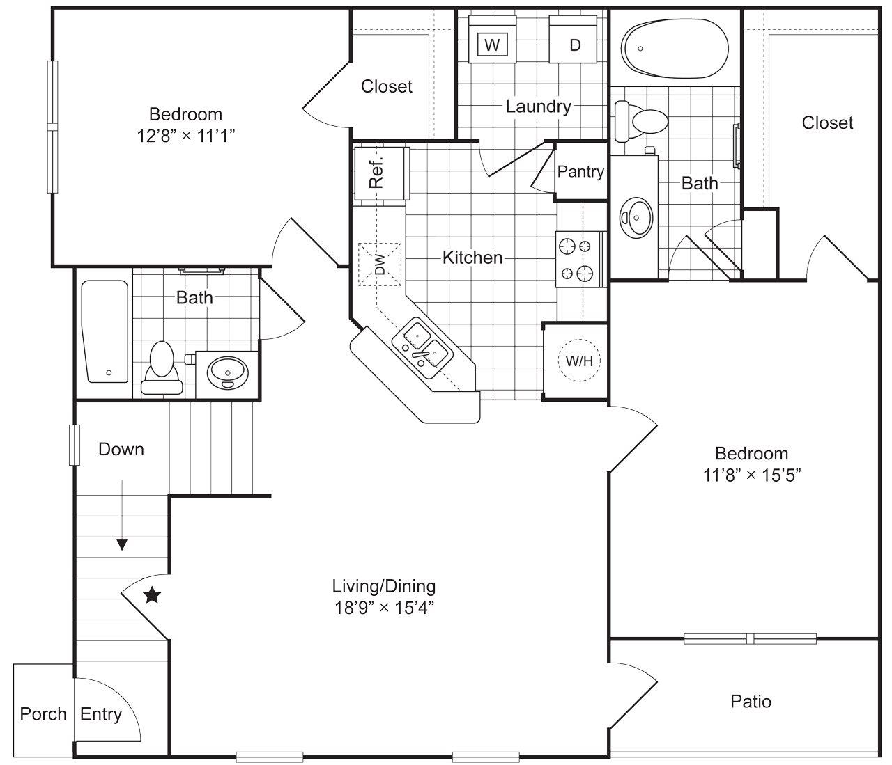 2 Bedroom 2 Bath 1097 sqft (B1) Floor Plan 6