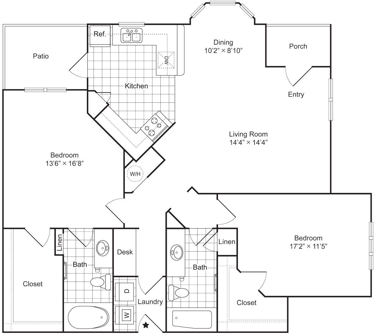 2 Bedroom 2 Bath 1325 sqft (B2L) Floor Plan 8