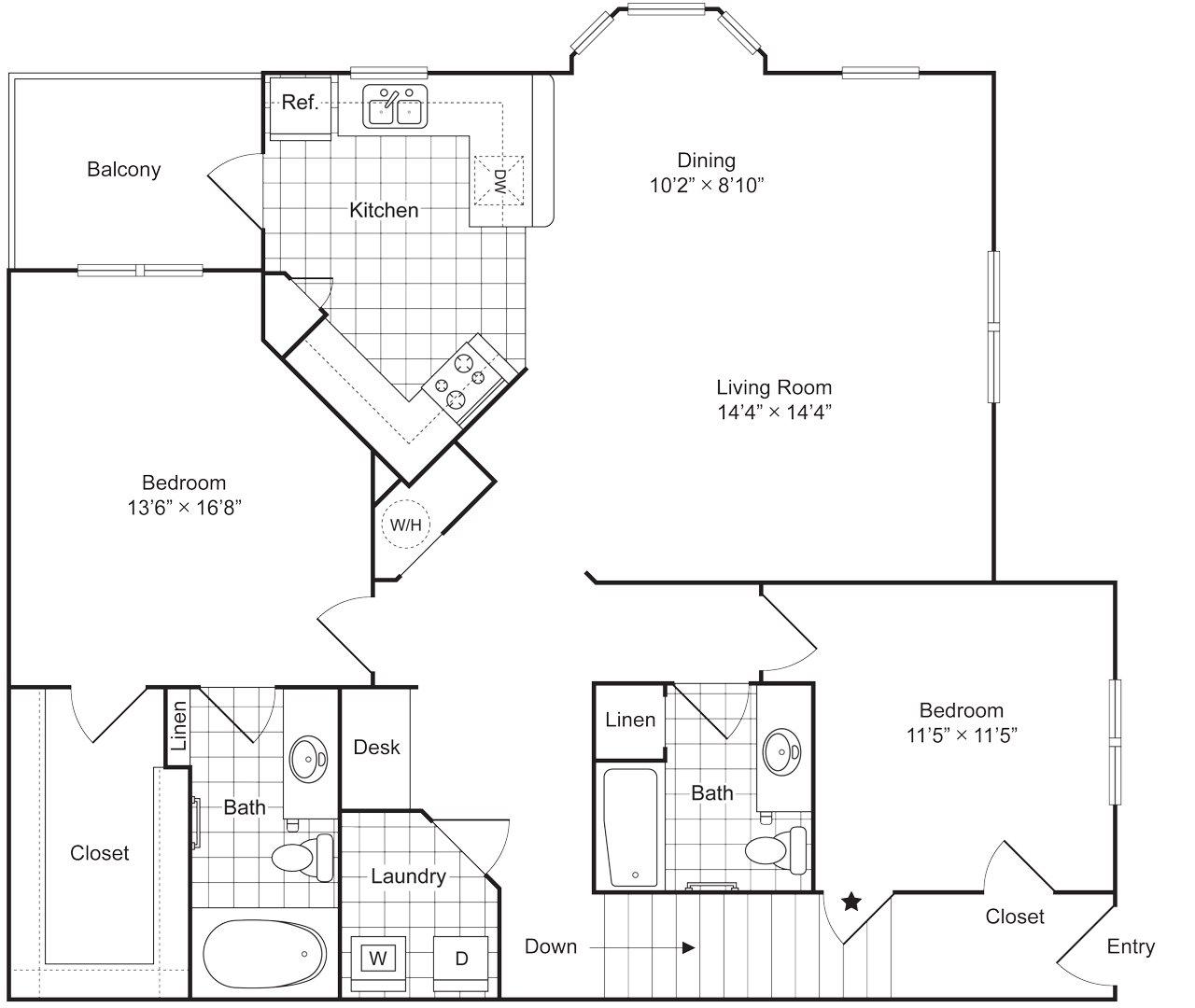 2 Bedroom 2 Bath 1442 sqft (B2U) Floor Plan 9