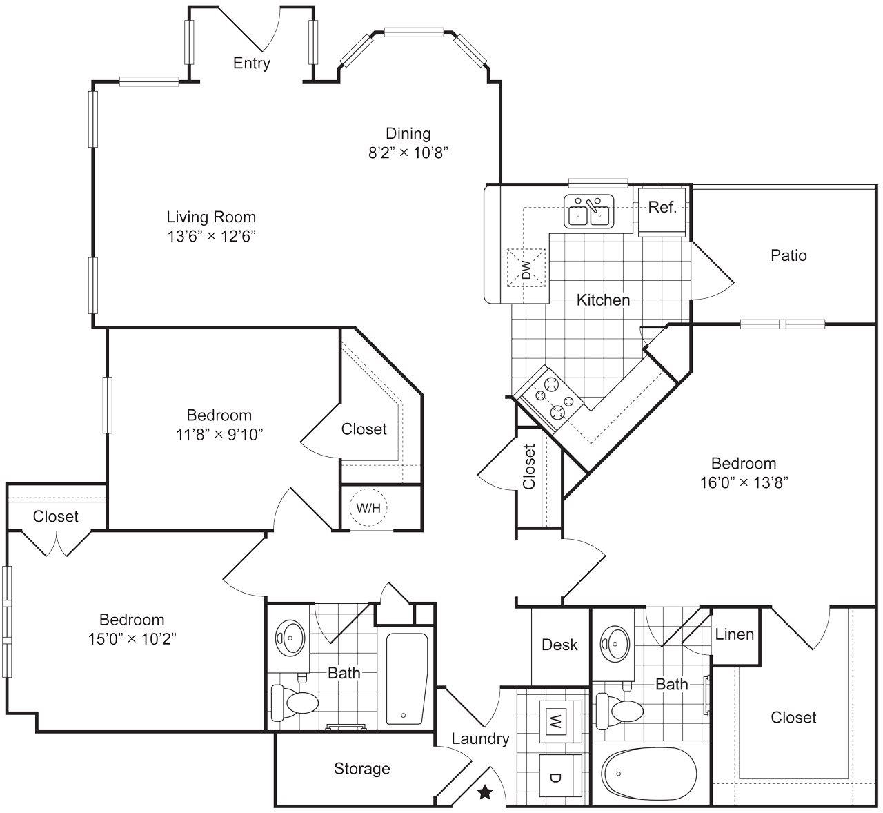 3 Bedroom 2 Bath 1448 sqft (C1L) Floor Plan 12