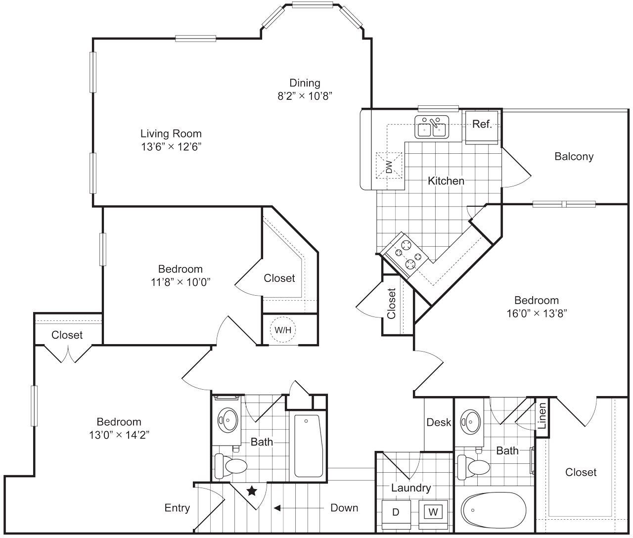 3 Bedrooms 2 Bath 1523 sqft (C1U) Floor Plan 13