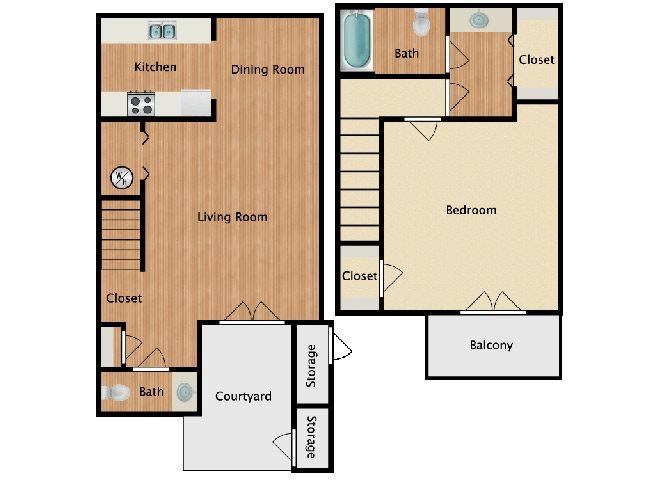 1 Bed 1.5 Bath Floor Plan 1