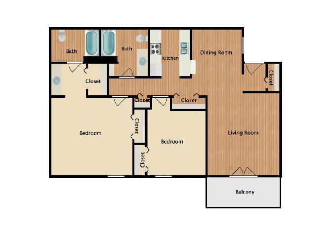 2 Bed 2 Bath A Floor Plan 2
