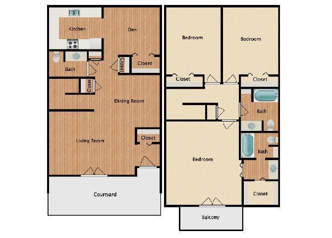 3 Bed 2.5 Bath A Floor Plan 6