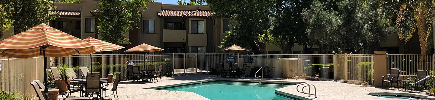Shimmering Heated Pool with Cabanas at Country Brook Apartments, Chandler, Arizona