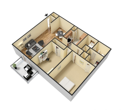 2 Bedroom 1 Bath Floor Plan 2