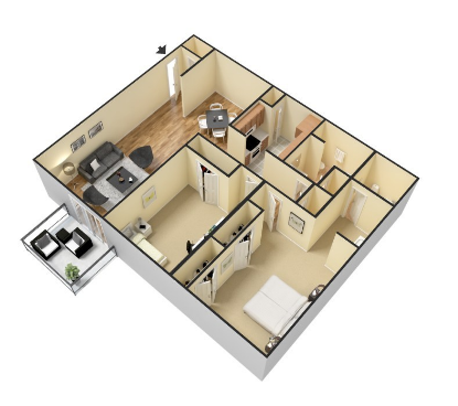 2 Bedroom 2 Bath Floor Plan 3