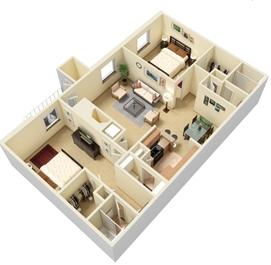 2 bed 2 bath Split Floor Plan 4