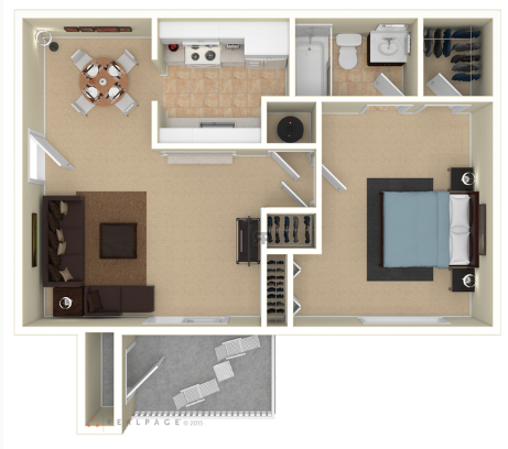 1 Bedroom 1 Bath PR Floor Plan 2