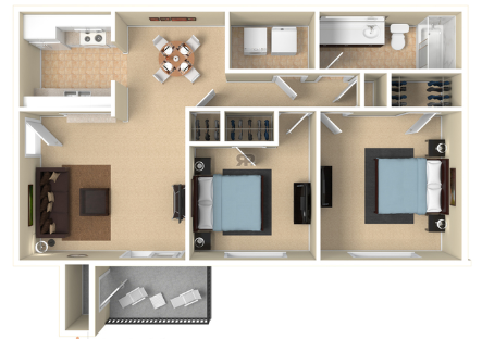 2 Bedroom 1 Bath PR Floor Plan 5