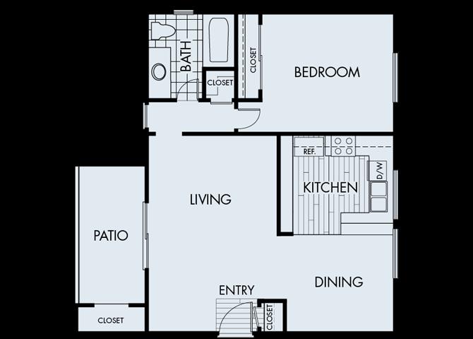 1 Bed 1 Bath 1A Floor Plan at Corte Bella, Fountain Valley, California