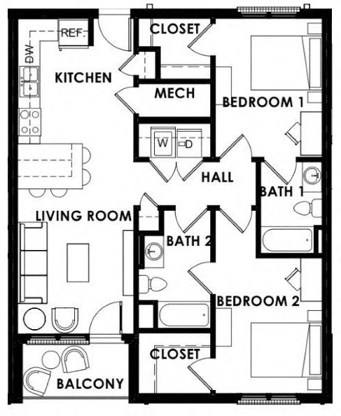 Floor Plans of The Balcony Apartments in Tuscaloosa, AL