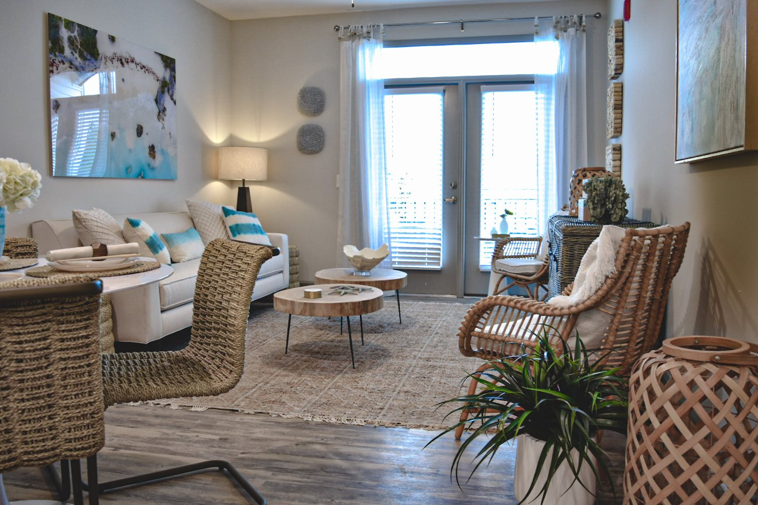 Coastal inspired decor in apartment living room Hawthorne at Smith Creek