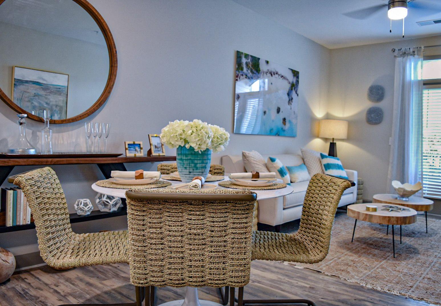 Coastal inspired dining room decor Hawthorne at Smith Creek Wilmington NC