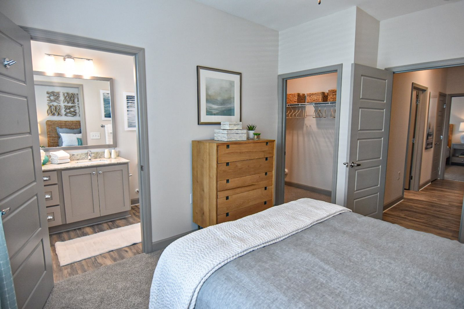 Modern bedroom with private bathroom hawthorne at smith creek wilmington nc