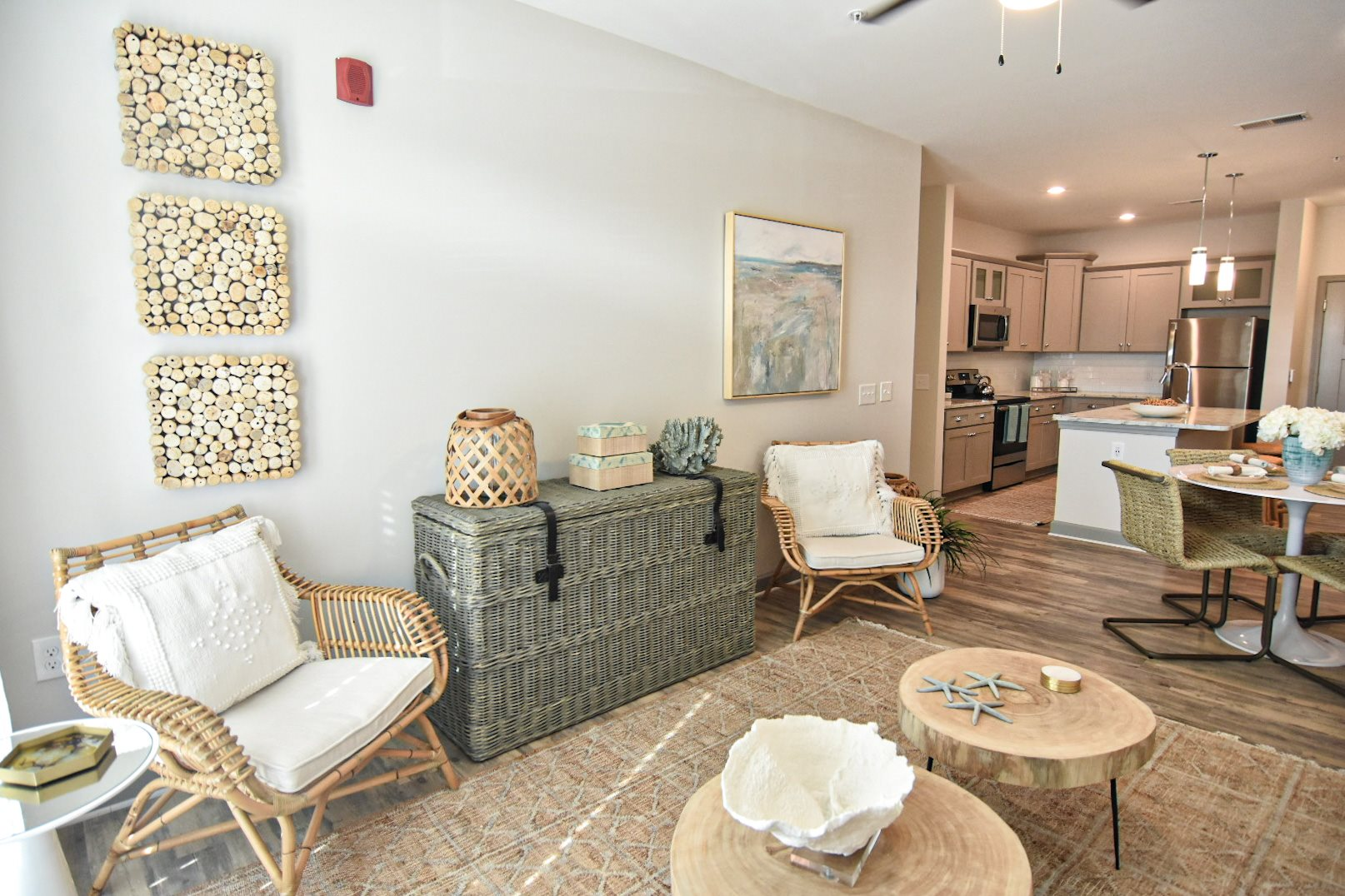 Coastal inspired decor in apartment living room Hawthorne at Smith Creek Wilmington NC