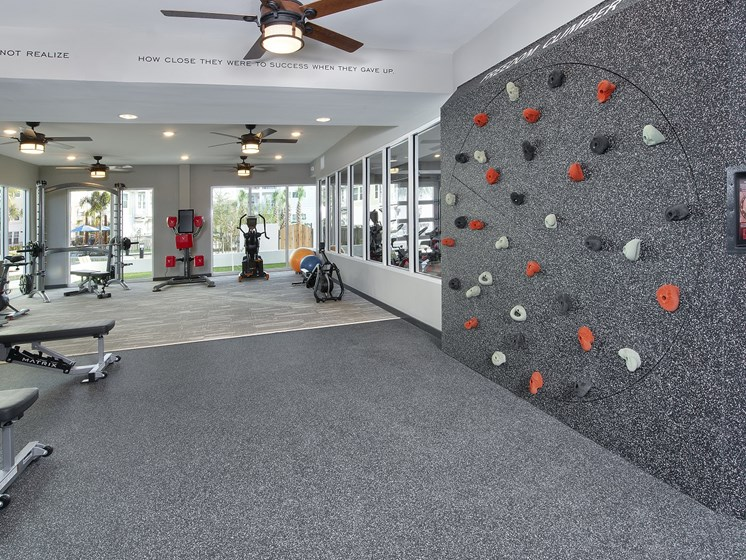 "State of the Art 24 Hour Fitness Center includes Cardio Machines, Weight Training, Various Exercise Equipment and ""Freedom Climber"" Rock Climbing Wall at The Edison Apartments in Fort Myers, FL 33905"