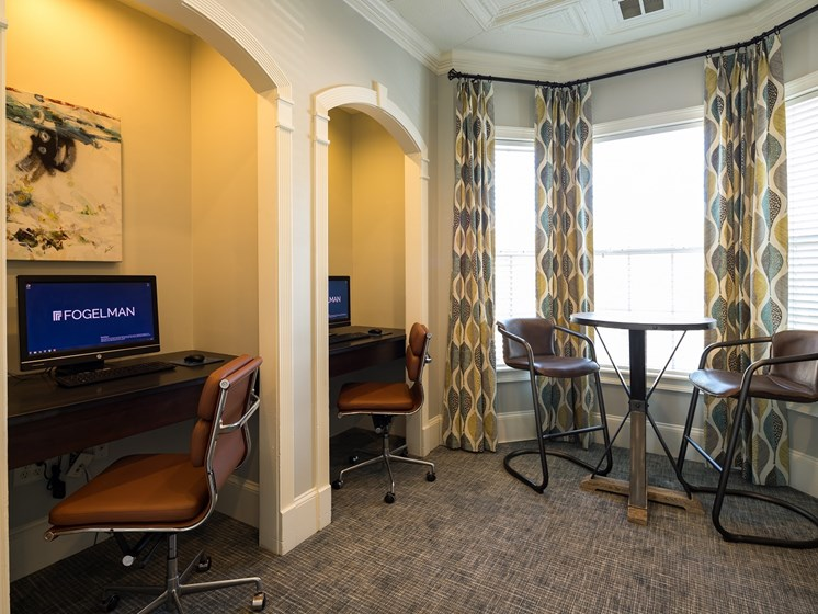 Business Technology Center for Resident Use. 2 Computer Work Stations and Desk Area at The Berkeley Apartment Homes, Duluth, GA 30096