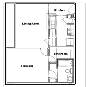 1 Bed | 1 Bath | 548 sq.ft.