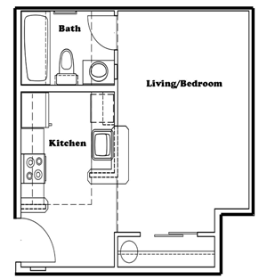 Studio | 1 Bath | 366 sq.ft.