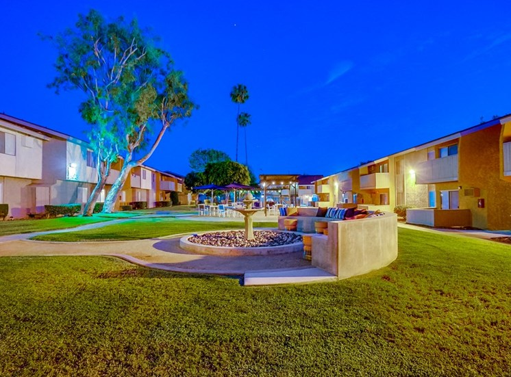Courtyards With Trickling Fountains at Pacific Trails Luxury Apartment Homes, Covina, CA, 91722